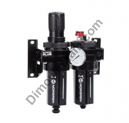 Olympian Plus combination unit (FRL), G1/2, manual drain, 40µm filter element, without shut-off valve
